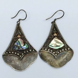 Bali Style Sterling Silver Abalone Inlay Earrings